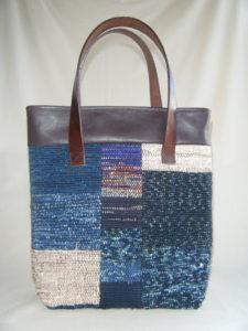 裂き織りのパッチワークバッグ